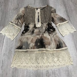 Lace and Silk Empire Waist Boho Sheer Blouse